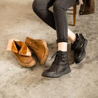 玛菲玛图秋冬新款女靴真皮保暖马丁靴毛里厚底欧美潮流短靴女009C