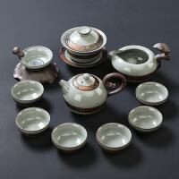 家用茶具套装整套陶瓷哥窑功夫茶具礼盒装茶壶茶杯汝窑
