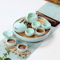 酒店家用小茶具套装整套功夫竹制陶瓷干泡茶壶杯旅行包茶盘