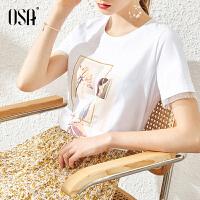 【3折折后价:123元 叠券更优惠】OSA欧莎白色印花短袖T恤女2021年新款夏季时尚百搭修身棉体恤上衣薄款