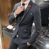 英伦风商务西装男套装潮流修身新郎礼服韩版男士帅气西服三件套装