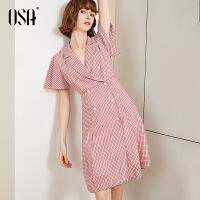 【2.5折到手价:209】OSA欧莎格子西装连衣裙2019新款夏法式复古雪纺V领裙子女收腰显瘦