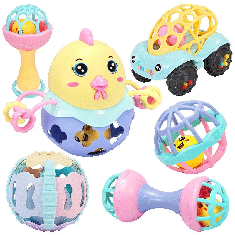 婴儿摇铃牙胶手摇铃新生儿益智玩具0-3-6-12个月宝宝0-1岁手抓球 趣萌摇铃手抓球【6件套】
