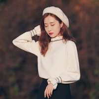 2019秋冬季打底针织衫毛衣女宽松韩版学生内搭外穿 白色 S 85-100斤