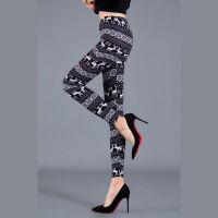 磨毛牛奶丝加绒打底裤涂鸦印花字母花朵图案彩色裤女外穿大弹力裤 均码(90-150斤)