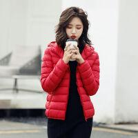 2019秋冬轻薄科技蓄热羽绒服女短款韩版时尚修身连帽外套