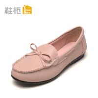 Daphne/达芙妮旗下鞋柜 女鞋秋舒适蝴蝶结平底低跟圆头单鞋女-