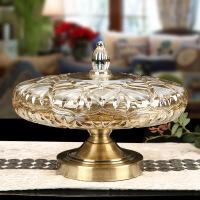 欧式干果盘水果盘带盖水晶玻璃高脚果盘零食盘创意餐桌家居摆件