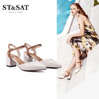 【3折再减80】St&Sat/星期六新款时尚中后空高跟单鞋凉鞋女SS91114141