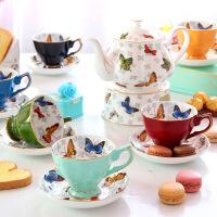 欧式茶具套装骨瓷英式下午茶茶具陶瓷红茶杯咖啡杯碟美式咖啡具壶 蝶恋茶具 15件