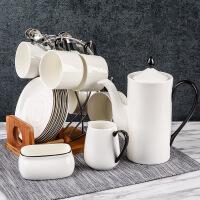 陶瓷创意咖啡杯套装下午茶套具简约手描家用办公室北欧杯具