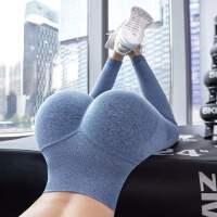 健身裤女高腰提臀弹力紧身收腹蜜桃秋冬款运动液体速干瑜伽裤外穿