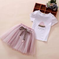 童装女童套装裙子夏装韩版洋气棉短袖中大童小女孩衣服两件套潮 粉色 120cm