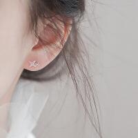 菱格s925银睡觉不用摘耳钉星星耳环女韩国简约气质迷你小耳饰品