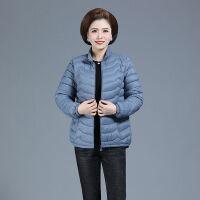中老年女装轻薄小棉衣短款中年妈妈装秋冬大码外套棉袄 2XL 建议100-120斤