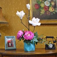 玉兰仿真花套装创意客厅装饰花陶瓷花盆绢花人造永生花欧式摆饰