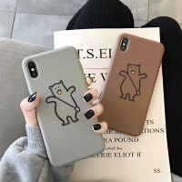 创意手绘斜包线条熊苹果xs max手机壳8p全包边硅胶iphone7软壳6s手机壳6plus灰色棕侣 iPhone X