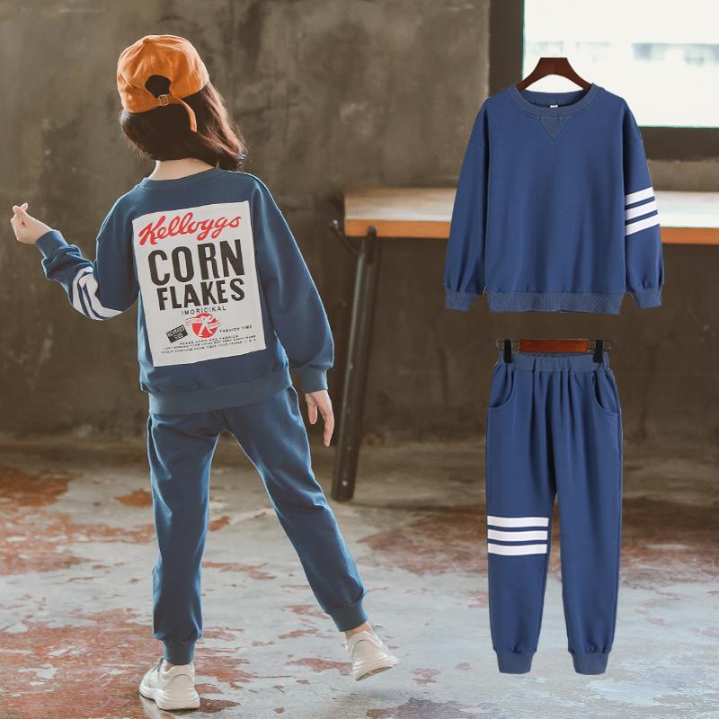女童春秋装套装2018新款韩版潮衣女孩时髦运动服大儿童秋季两件套