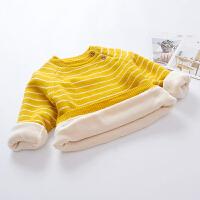 女童毛衣2018新款宝宝套头衫针织上衣中小童加绒加厚儿童打底衫潮