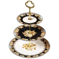 骨瓷水果盘创意现代客厅点心干果盘下午茶三层甜品蛋糕盘 缪斯三层串盘-礼盒装