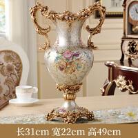 餐桌花瓶摆件复古欧式客厅家具装饰品电视柜插花创意家居摆设 香槟金大花瓶 底部有孔