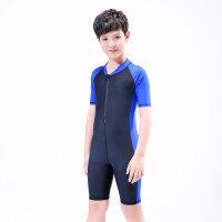 儿童游泳衣连体大童套装加大码胖宝宝男童8-12-15岁青少年泳装 X