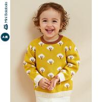 【限时1件6折 2件5折】迷你巴拉巴拉婴儿针织衫女宝宝全棉毛衫2019冬装新款甜美毛衣