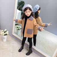 儿童秋冬加绒外套2018新款上衣女孩加厚休闲大衣中长款