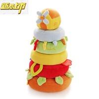 【六一儿童节特惠】 婴儿叠叠乐玩具安抚宝宝叠叠圈毛绒布艺带摇铃响纸 叠叠风车屋