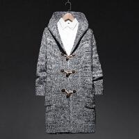 毛衣男士针织开衫中长款连帽宽松外套加肥加大码潮男子线衣春秋装