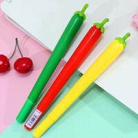 辣椒中性笔软胶水笔韩国硅胶黑色签字笔0.5mm学生文具硅胶握杆水笔