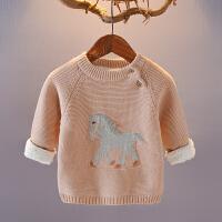 男女童毛衣宝宝加绒加厚2018新款1234岁儿童打底线衫婴儿保暖套头