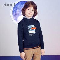 【2件45折:153】安奈儿童装男童冬季新款中领毛衣