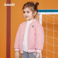 安奈儿童装女童棒球领短款棉衣 两面可穿