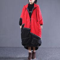 胖MM200斤300斤牛仔棉衣女韩版宽松大码连帽拼接外套冬装 红色