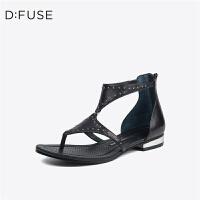 【限时3折】D:Fuse/迪芙斯夏新商场同款羊皮夹趾低跟女凉鞋DF72115302