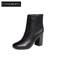 Fondberyl/菲伯丽尔秋冬牛皮铆钉圆头粗跟短靴女鞋FB54114517