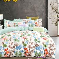 当当优品家纺 纯棉斜纹印花床品 双人床单四件套 花团锦簇
