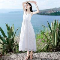 【好货推荐】 2019夏季新款吊带海南三亚海边渡假显瘦蕾丝连衣裙白色沙滩裙长裙 白色XZ17B740