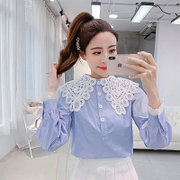 蕾丝雪纺衬衫女春装新款韩版时尚洋气打底小衫设计感小众上衣