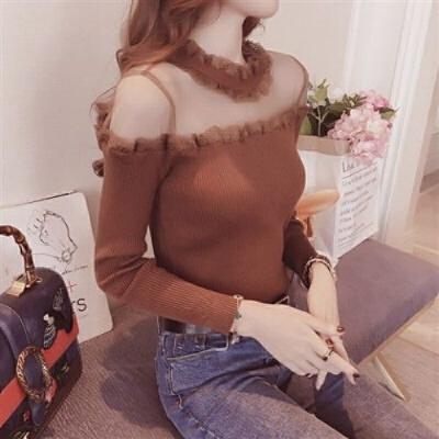 蕾丝衫女秋冬大码打底衫网纱露肩上衣修身打底衫薄款长袖T恤衫女