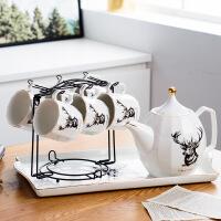 北欧茶杯套装家用欧式茶具客厅水杯茶杯套装简约创意陶瓷水具茶壶 6杯1壶1盘(送铁架)彩盒装