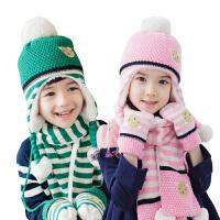 kocotree儿童保暖毛线帽子围巾两件套男童女童宝宝帽子秋冬新款潮