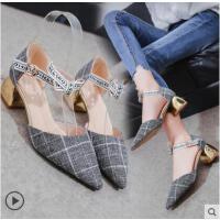 女鞋百搭潮款蝴蝶结中跟粗跟一字扣单鞋尖头高跟鞋潮