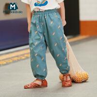 【2件3.8折】迷你巴拉巴拉男女童夏季长裤2019新款儿童裤子宝宝印花灯笼裤薄款