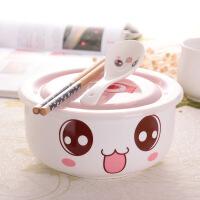 创意陶瓷碗可爱大号拉面方便面泡面碗泡面杯饭盒日式餐具带盖勺筷