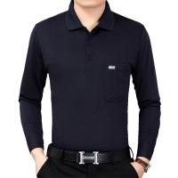 中年男士长袖翻领纯色T恤衫爸爸装春秋中老年宽松版体恤打底上衣 藏青色 653
