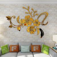 创意镜面花藤3D亚克力水晶立体墙贴客厅电视沙发背景装饰墙贴画 超