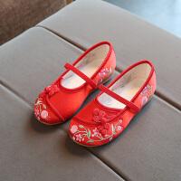 老北京儿童布鞋女童民族风绣花鞋学生鞋表演出舞蹈单鞋亲子鞋潮鞋 红 033