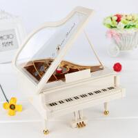 旋转芭蕾跳舞音乐盒 钢琴音乐盒八音盒女生 木质旋转跳舞芭蕾舞女孩公主儿童生日礼物 白色 发光钢琴天空之城